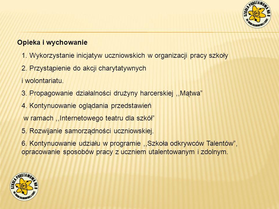 Opieka i wychowanie 1. Wykorzystanie inicjatyw uczniowskich w organizacji pracy szkoły 2. Przystąpienie do akcji charytatywnych i wolontariatu. 3. Pro