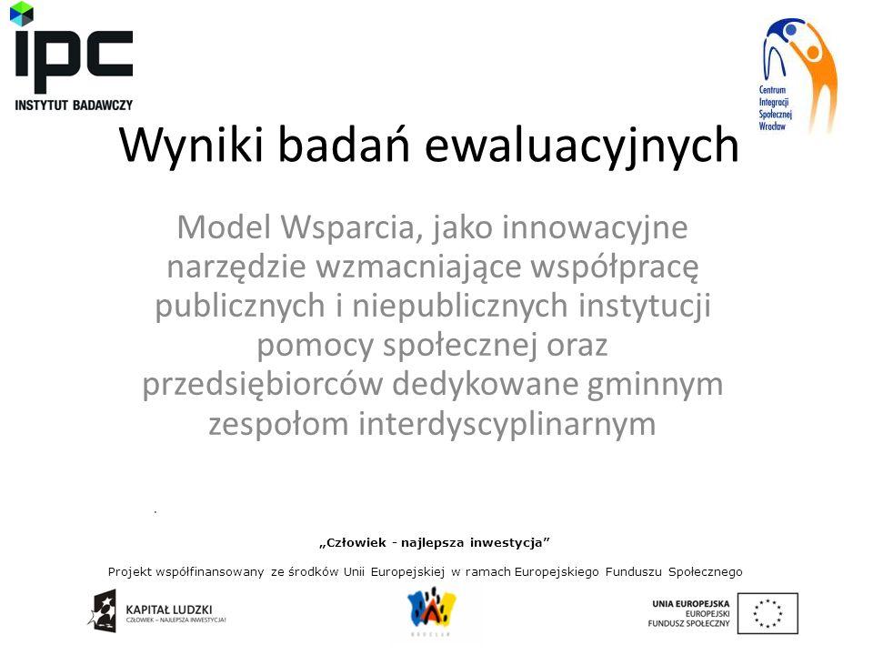 """Wyniki badań ewaluacyjnych Model Wsparcia, jako innowacyjne narzędzie wzmacniające współpracę publicznych i niepublicznych instytucji pomocy społecznej oraz przedsiębiorców dedykowane gminnym zespołom interdyscyplinarnym """"Człowiek - najlepsza inwestycja Projekt współfinansowany ze środków Unii Europejskiej w ramach Europejskiego Funduszu Społecznego."""