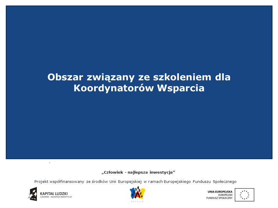 """. """"Człowiek - najlepsza inwestycja Projekt współfinansowany ze środków Unii Europejskiej w ramach Europejskiego Funduszu Społecznego Mocne i słabe strony Modelu Wsparcia - Utworzona grupa wsparcia - Wymiana informacji pomiędzy koordynatorami wsparcia (spotkania, wymiana doświadczeń, wiedzy, wspólne spotkania) - Możliwość uczestnictwa w szkoleniach - Obecność stylisty w projekcie - Współpraca z partnerami projektu - Przepływ informacji i komunikacji - Formularz gotowości do wyjścia z sytuacji przemocy i inne narzędzia wykorzystywane w projekcie - Niekorzystne umieszczenie zajęć w czasie - Stylista - niedopilnowanie zakupów dla uczestniczek projektu - Rekrutacja uczestniczek - wąska kategoria i mniejsza możliwość wyboru pań - Powtarzalność i nieścisłości w zajęciach"""