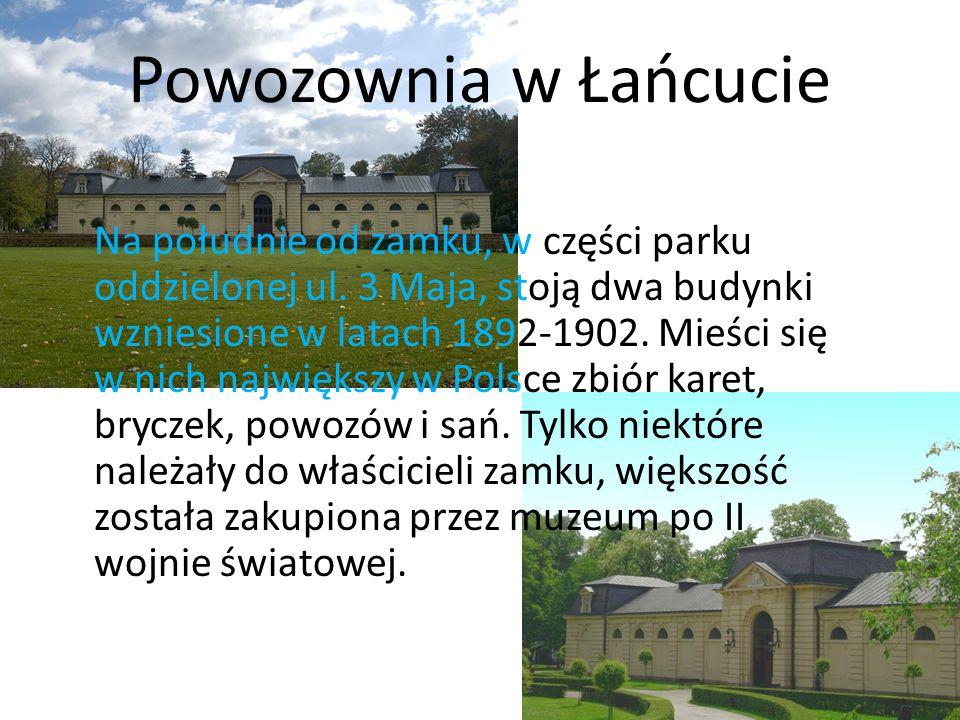 Powozownia w Łańcucie Na południe od zamku, w części parku oddzielonej ul. 3 Maja, stoją dwa budynki wzniesione w latach 1892-1902. Mieści się w nich