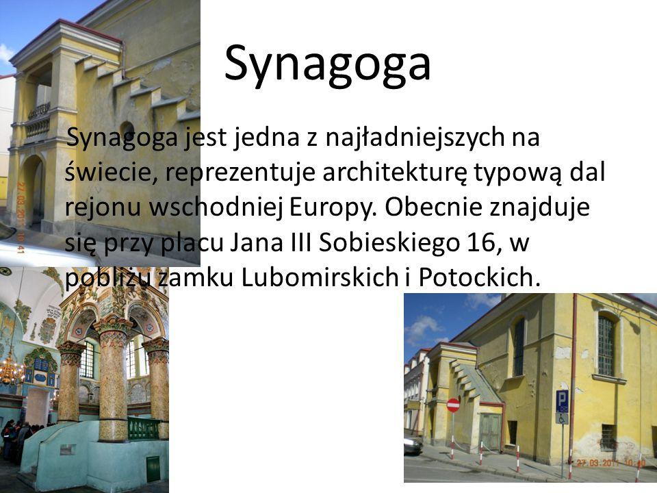 Synagoga Synagoga jest jedna z najładniejszych na świecie, reprezentuje architekturę typową dal rejonu wschodniej Europy. Obecnie znajduje się przy pl