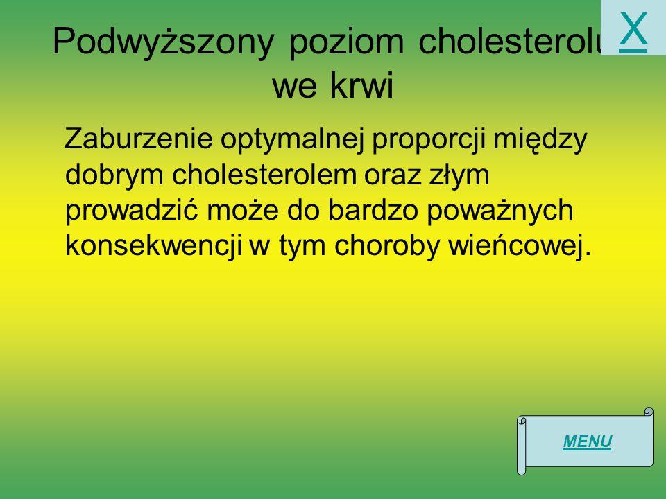 Podwyższony poziom cholesterolu we krwi Zaburzenie optymalnej proporcji między dobrym cholesterolem oraz złym prowadzić może do bardzo poważnych konsekwencji w tym choroby wieńcowej.