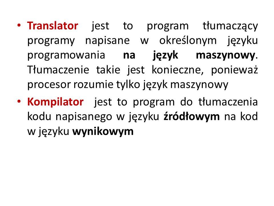 Translator jest to program tłumaczący programy napisane w określonym języku programowania na język maszynowy.