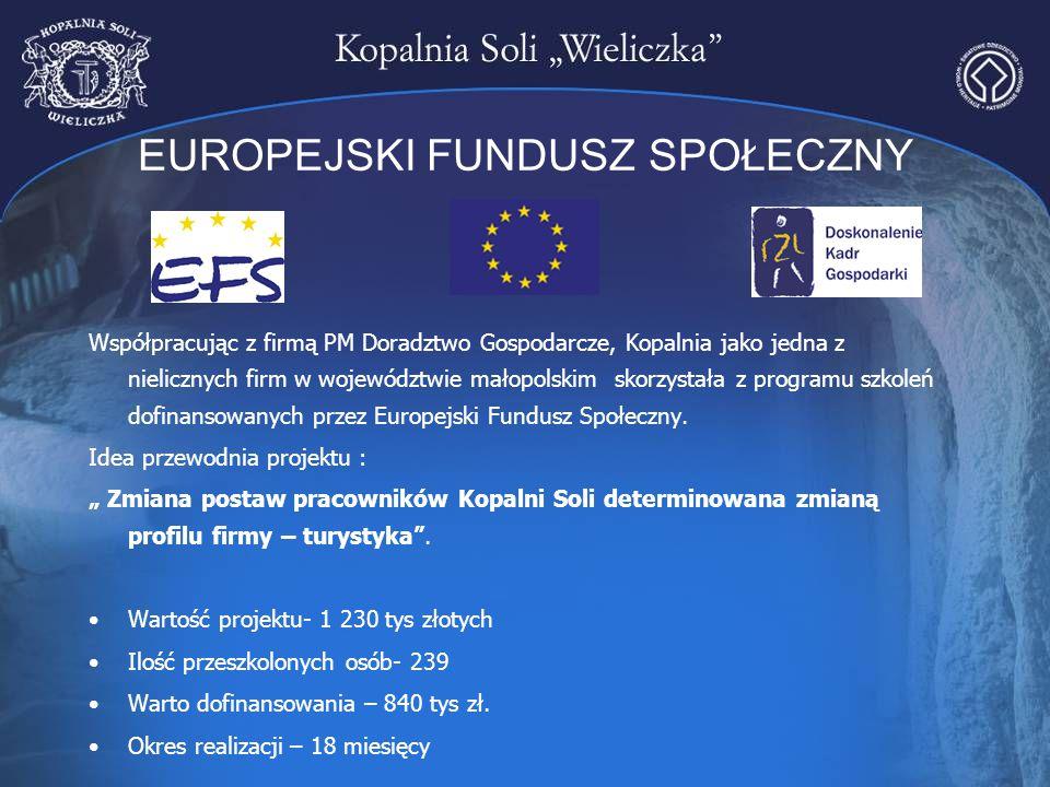 EUROPEJSKI FUNDUSZ SPOŁECZNY Współpracując z firmą PM Doradztwo Gospodarcze, Kopalnia jako jedna z nielicznych firm w województwie małopolskim skorzys