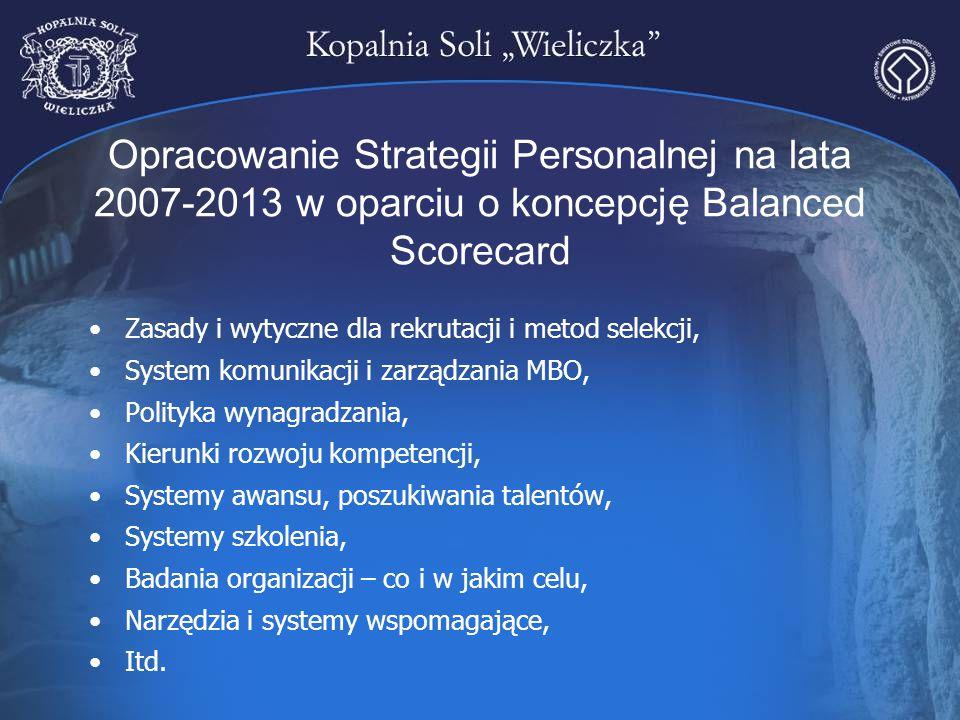 Opracowanie Strategii Personalnej na lata 2007-2013 w oparciu o koncepcję Balanced Scorecard Zasady i wytyczne dla rekrutacji i metod selekcji, System