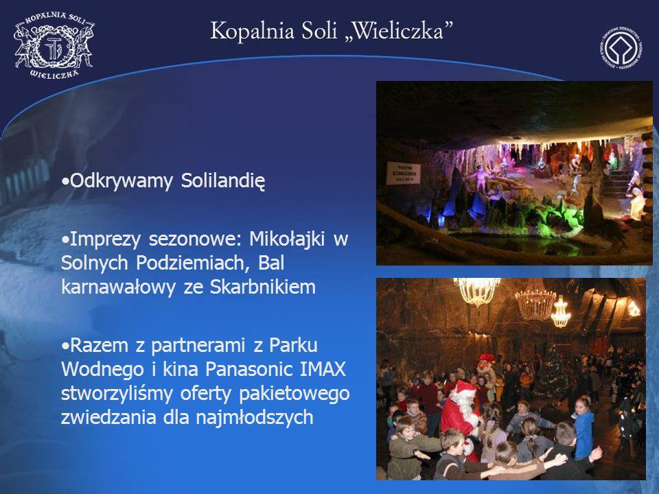 Odkrywamy Solilandię Imprezy sezonowe: Mikołajki w Solnych Podziemiach, Bal karnawałowy ze Skarbnikiem Razem z partnerami z Parku Wodnego i kina Panas