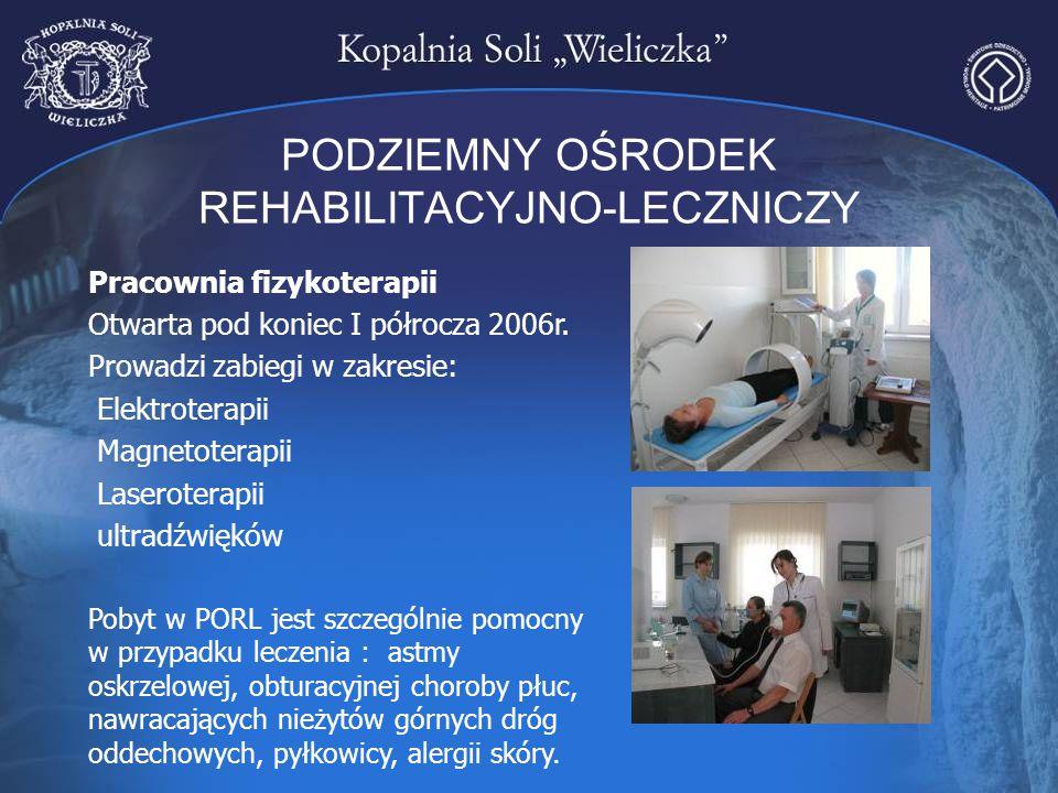 PODZIEMNY OŚRODEK REHABILITACYJNO-LECZNICZY Pracownia fizykoterapii Otwarta pod koniec I półrocza 2006r. Prowadzi zabiegi w zakresie: Elektroterapii M