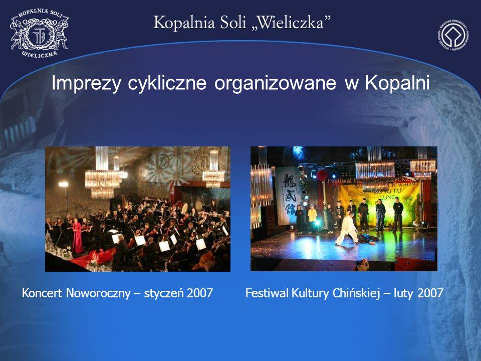 Imprezy cykliczne organizowane w Kopalni Koncert Noworoczny – styczeń 2007Festiwal Kultury Chińskiej – luty 2007