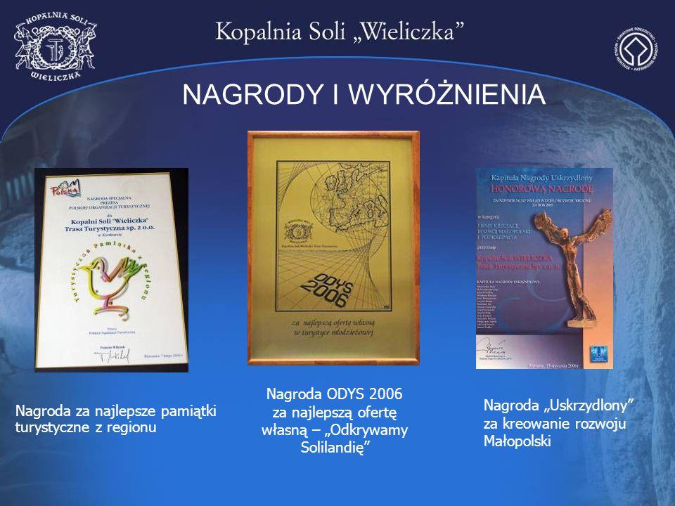 """NAGRODY I WYRÓŻNIENIA Nagroda ODYS 2006 za najlepszą ofertę własną – """"Odkrywamy Solilandię"""" Nagroda za najlepsze pamiątki turystyczne z regionu Nagrod"""