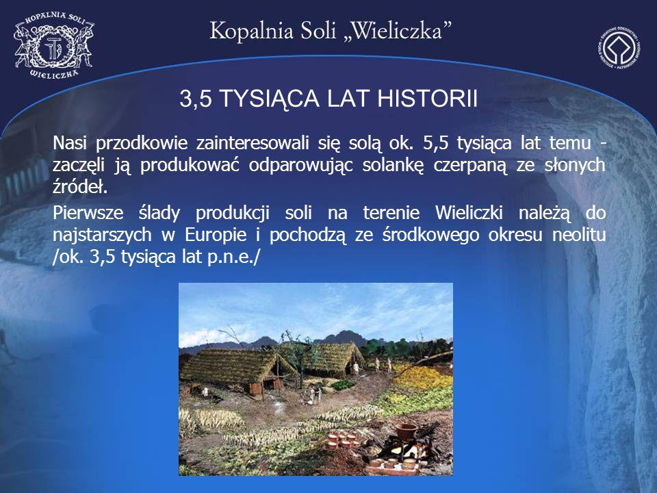 3,5 TYSIĄCA LAT HISTORII Nasi przodkowie zainteresowali się solą ok. 5,5 tysiąca lat temu - zaczęli ją produkować odparowując solankę czerpaną ze słon