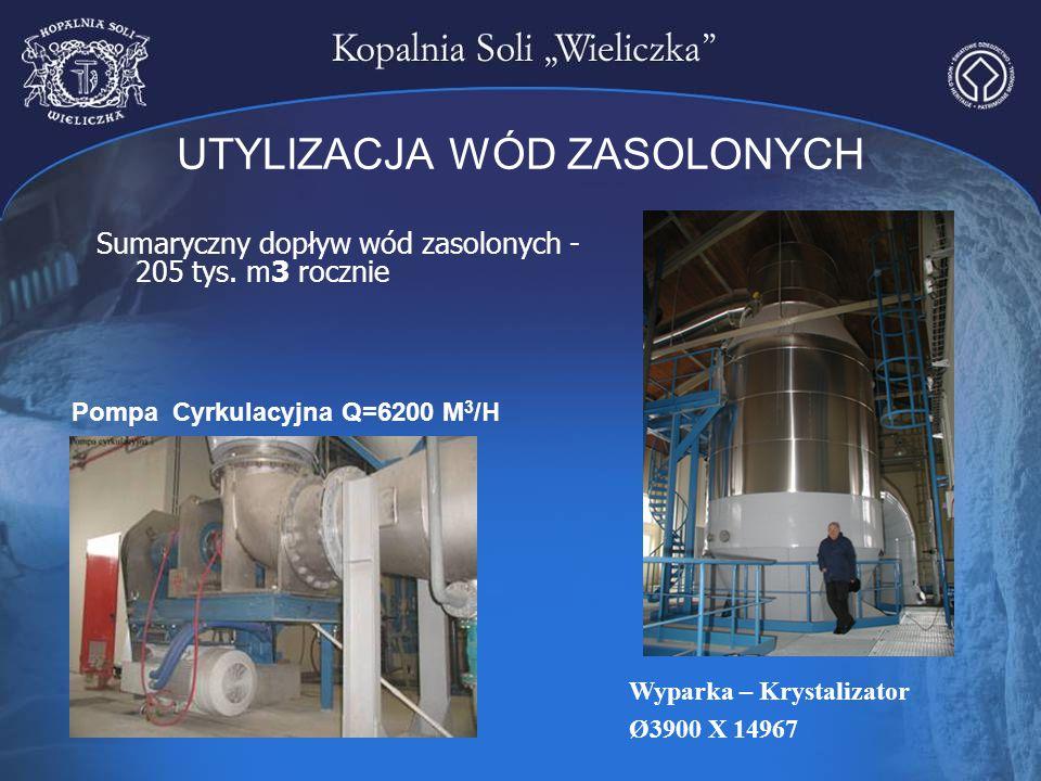 UTYLIZACJA WÓD ZASOLONYCH Sumaryczny dopływ wód zasolonych - 205 tys. m3 rocznie Pompa Cyrkulacyjna Q=6200 M 3 /H Wyparka – Krystalizator Ø3900 X 1496