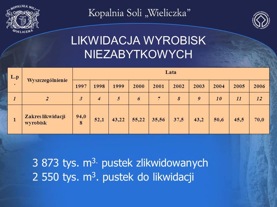 LIKWIDACJA WYROBISK NIEZABYTKOWYCH 3 873 tys. m 3. pustek zlikwidowanych 2 550 tys. m 3. pustek do likwidacji L.p. Wyszczególnienie Lata 1997199819992