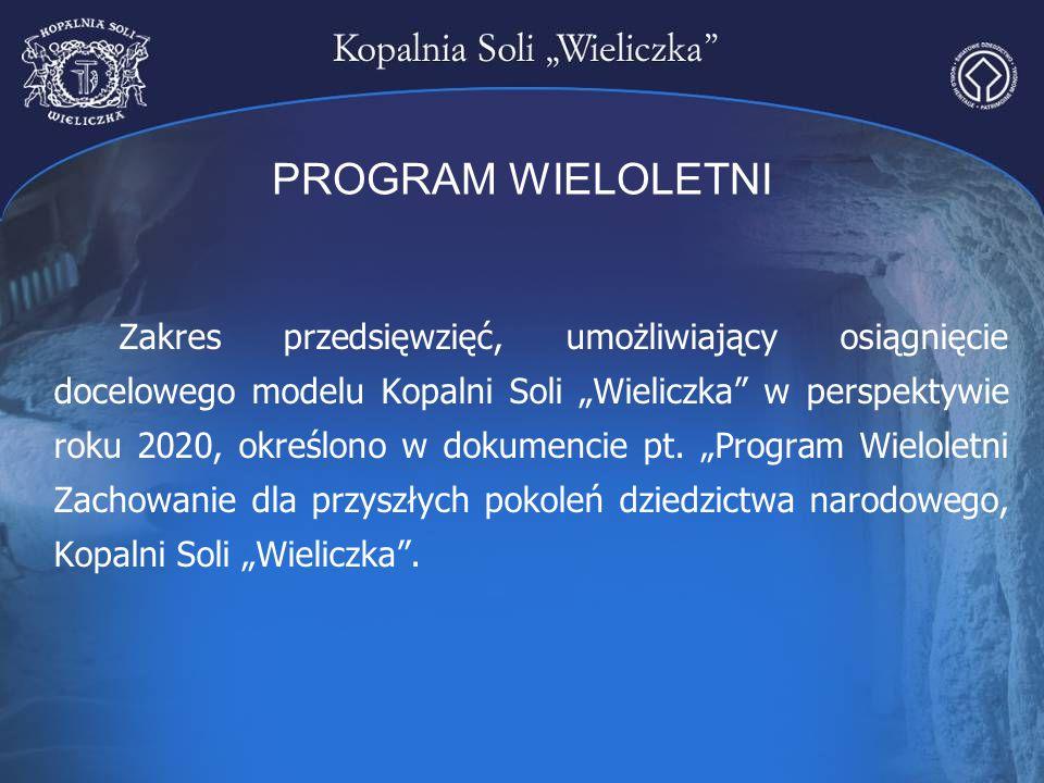 """PROGRAM WIELOLETNI Zakres przedsięwzięć, umożliwiający osiągnięcie docelowego modelu Kopalni Soli """"Wieliczka"""" w perspektywie roku 2020, określono w do"""