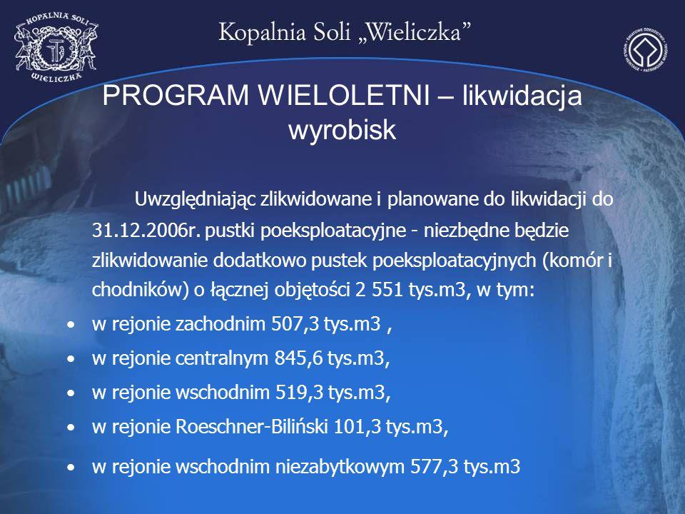 PROGRAM WIELOLETNI – likwidacja wyrobisk Uwzględniając zlikwidowane i planowane do likwidacji do 31.12.2006r. pustki poeksploatacyjne - niezbędne będz