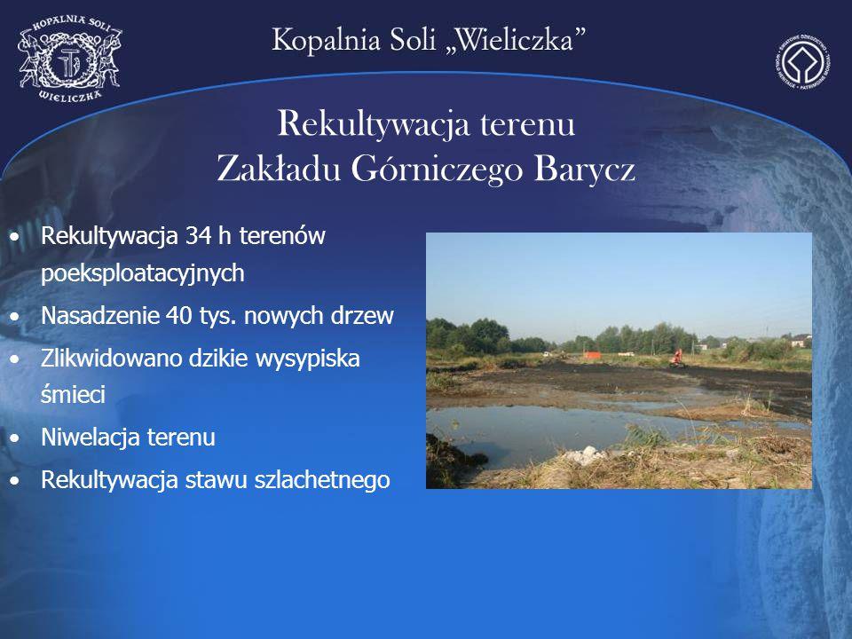 Rekultywacja terenu Zak ł adu Górniczego Barycz Rekultywacja 34 h terenów poeksploatacyjnych Nasadzenie 40 tys. nowych drzew Zlikwidowano dzikie wysyp