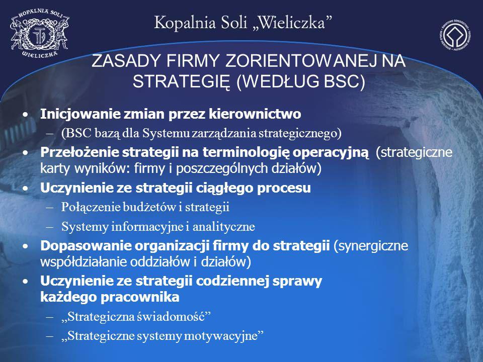ZASADY FIRMY ZORIENTOWANEJ NA STRATEGIĘ (WEDŁUG BSC) Inicjowanie zmian przez kierownictwo –(BSC bazą dla Systemu zarządzania strategicznego) Przełożen