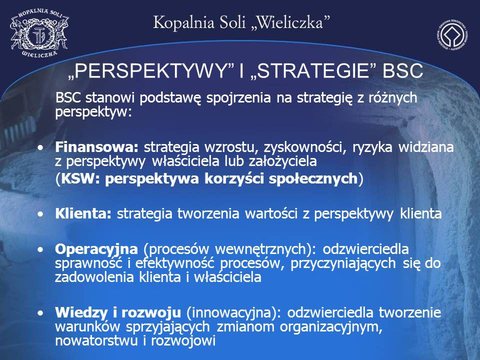 """""""PERSPEKTYWY"""" I """"STRATEGIE"""" BSC BSC stanowi podstawę spojrzenia na strategię z różnych perspektyw: Finansowa: strategia wzrostu, zyskowności, ryzyka w"""