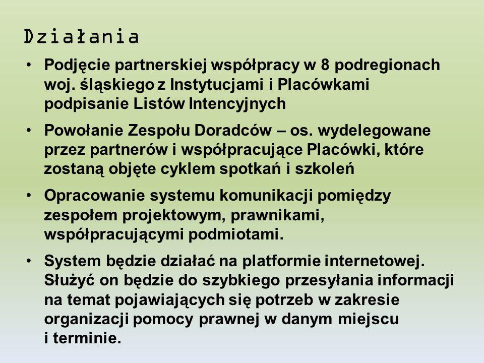 Działania Podjęcie partnerskiej współpracy w 8 podregionach woj. śląskiego z Instytucjami i Placówkami podpisanie Listów Intencyjnych Powołanie Zespoł