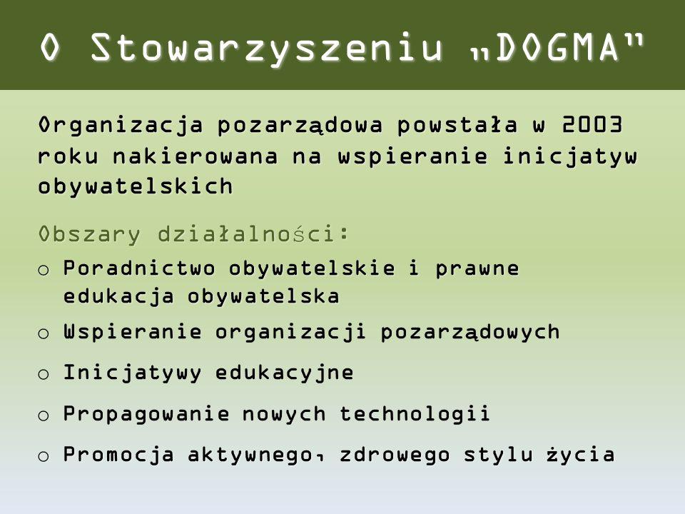 """O Stowarzyszeniu """"DOGMA"""" Organizacja pozarządowa powstała w 2003 roku nakierowana na wspieranie inicjatyw obywatelskich Obszary działalności: o Poradn"""