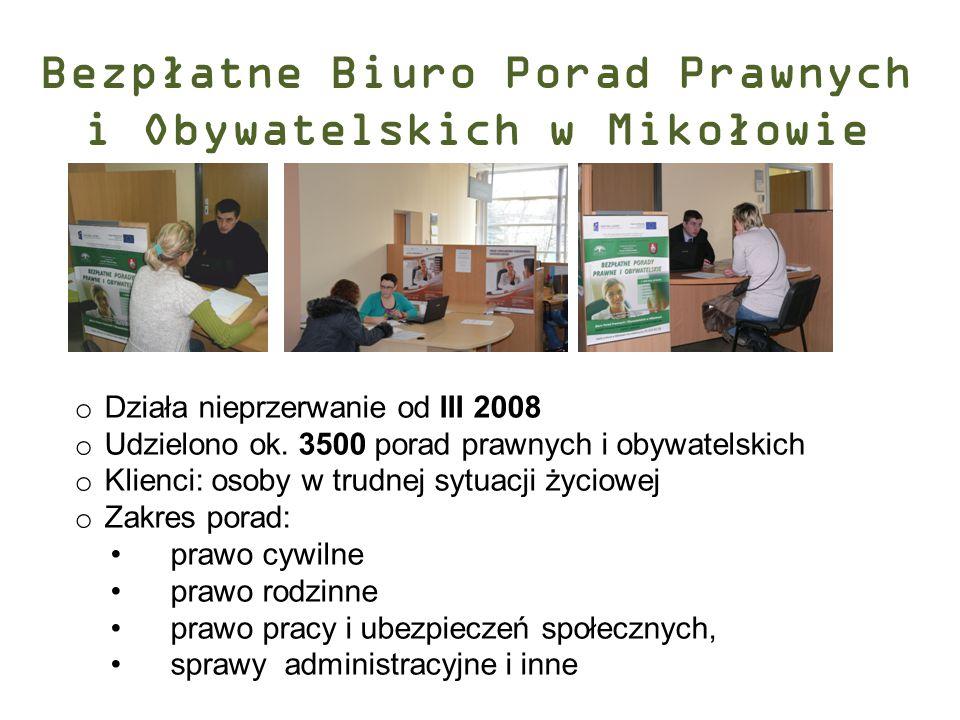Bezpłatne Biuro Porad Prawnych i Obywatelskich w Mikołowie o Działa nieprzerwanie od III 2008 o Udzielono ok. 3500 porad prawnych i obywatelskich o Kl