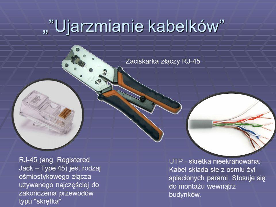"""""""""""Ujarzmianie kabelków"""" UTP - skrętka nieekranowana: Kabel składa się z ośmiu żył splecionych parami. Stosuje się do montażu wewnątrz budynków. RJ-45"""