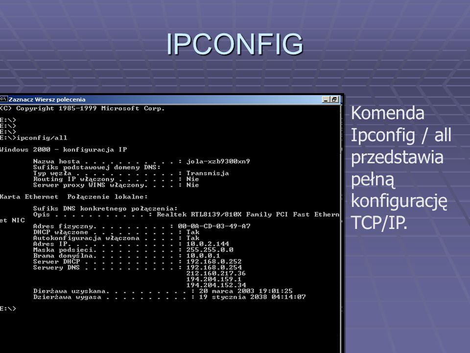 PING Obok podawane są czasy, po jakich komputer otrzymuje wiadomość zwrotną Czasy podawane są w milisekundach.Komendę Ping wydaje się w wierzu poleceń.