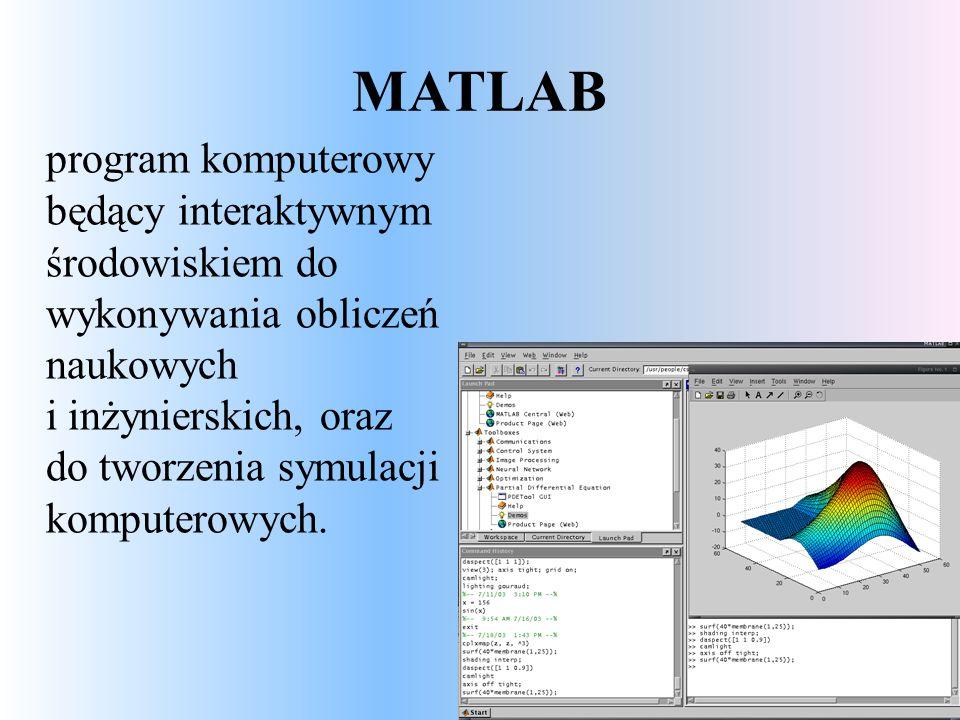 MATLAB program komputerowy będący interaktywnym środowiskiem do wykonywania obliczeń naukowych i inżynierskich, oraz do tworzenia symulacji komputerowych.