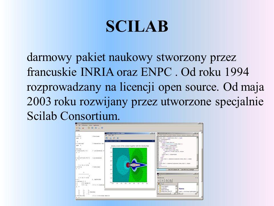 SCILAB darmowy pakiet naukowy stworzony przez francuskie INRIA oraz ENPC.