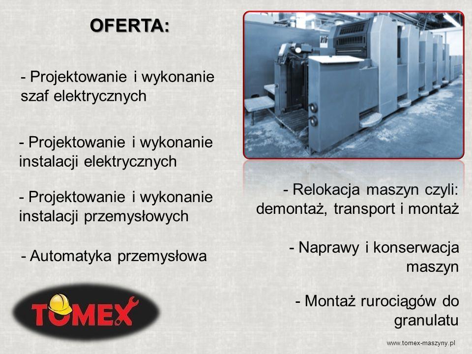 - Projektowanie i wykonanie szaf elektrycznych - Projektowanie i wykonanie instalacji przemysłowych - Automatyka przemysłowa - Relokacja maszyn czyli: