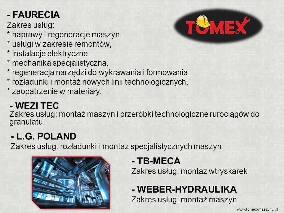- FAURECIA Zakres usług: * naprawy i regeneracje maszyn, * usługi w zakresie remontów, * instalacje elektryczne, * mechanika specjalistyczna, * regene