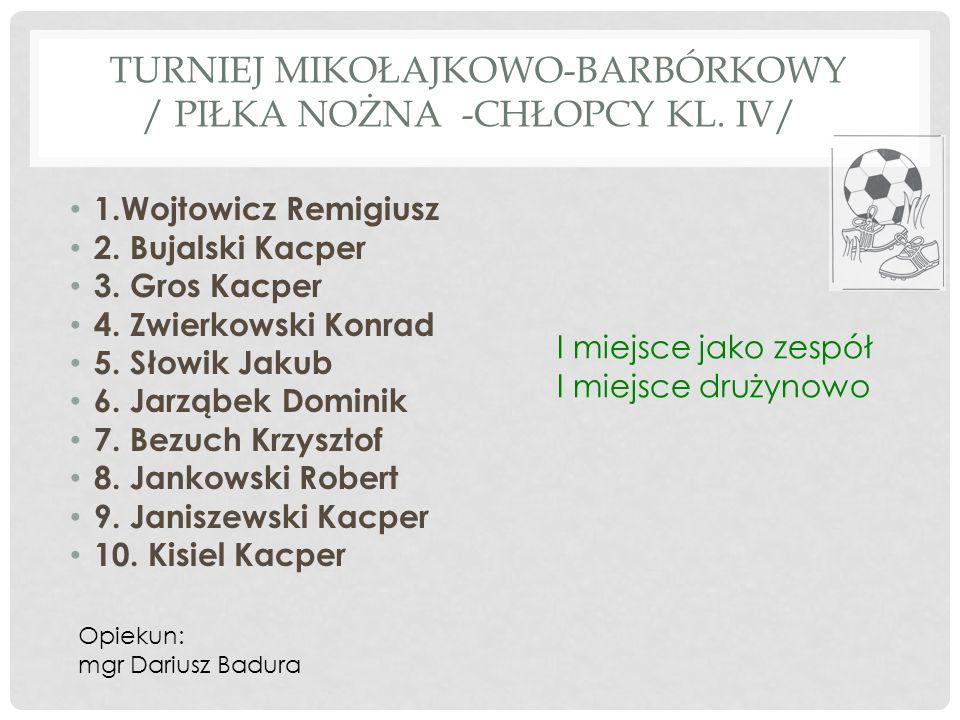 TURNIEJ MIKOŁAJKOWO-BARBÓRKOWY / PIŁKA NOŻNA -CHŁOPCY KL. IV/ 1.Wojtowicz Remigiusz 2. Bujalski Kacper 3. Gros Kacper 4. Zwierkowski Konrad 5. Słowik