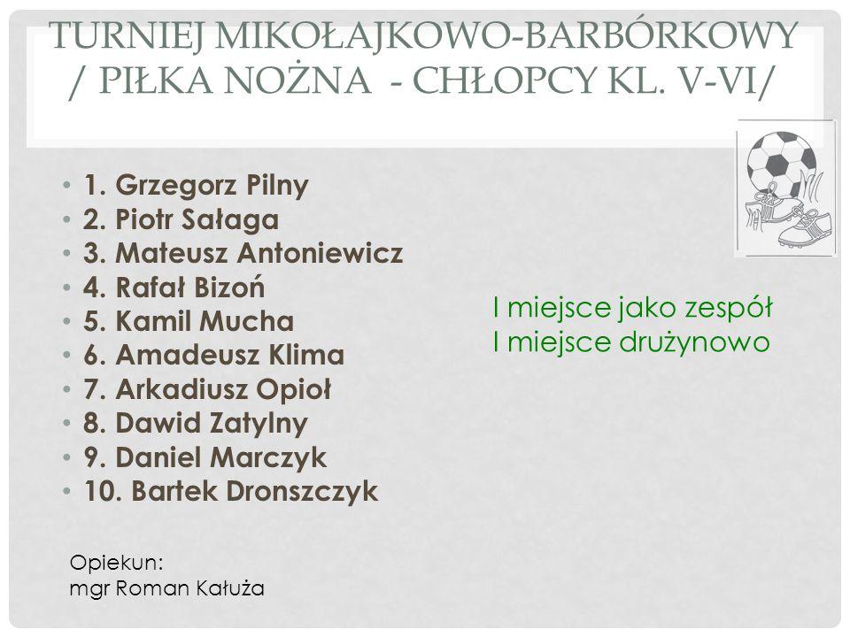 TURNIEJ MIKOŁAJKOWO-BARBÓRKOWY / PIŁKA NOŻNA - CHŁOPCY KL. V-VI/ 1. Grzegorz Pilny 2. Piotr Sałaga 3. Mateusz Antoniewicz 4. Rafał Bizoń 5. Kamil Much