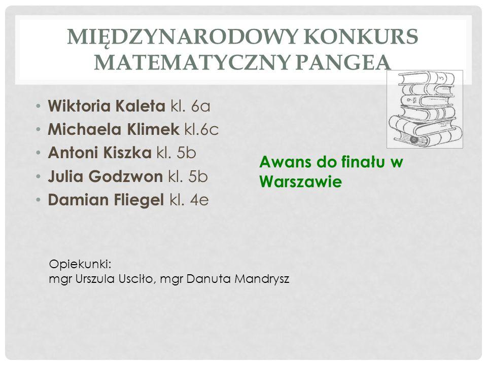 MIĘDZYNARODOWY KONKURS MATEMATYCZNY PANGEA Wiktoria Kaleta kl. 6a Michaela Klimek kl.6c Antoni Kiszka kl. 5b Julia Godzwon kl. 5b Damian Fliegel kl. 4