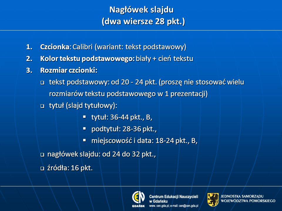Nagłówek slajdu (dwa wiersze 28 pkt.) 1.Czcionka: Calibri (wariant: tekst podstawowy) 2.Kolor tekstu podstawowego: biały + cień tekstu 3.Rozmiar czcio