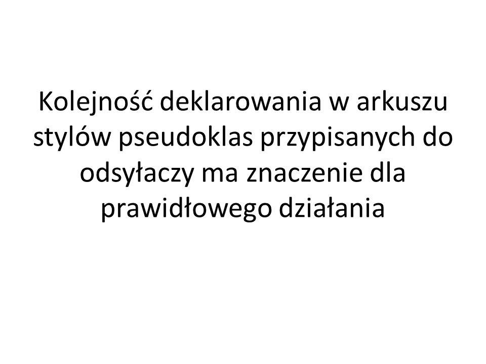 Kolejność deklarowania w arkuszu stylów pseudoklas przypisanych do odsyłaczy ma znaczenie dla prawidłowego działania