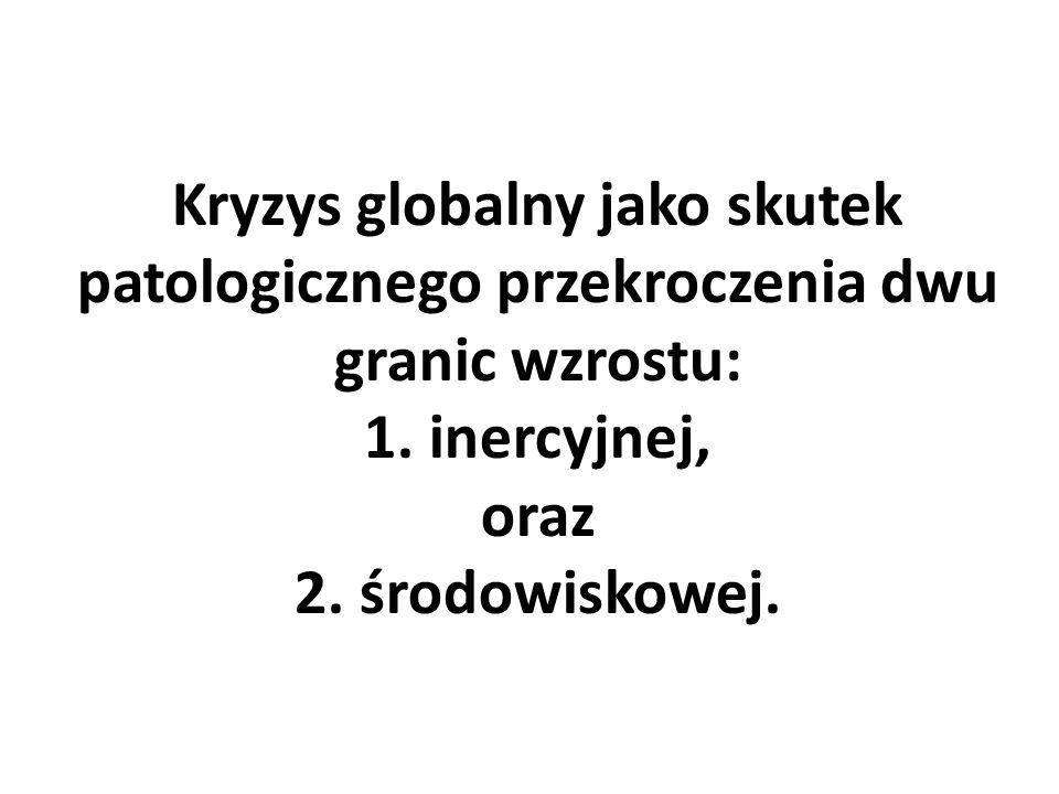 Kryzys globalny jako skutek patologicznego przekroczenia dwu granic wzrostu: 1. inercyjnej, oraz 2. środowiskowej.