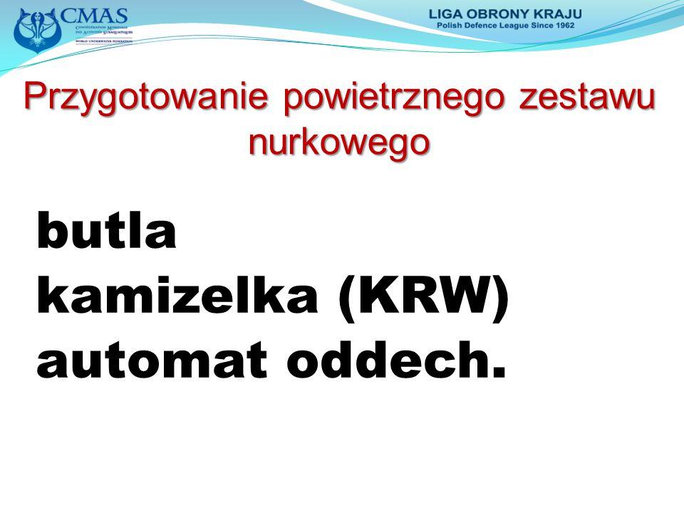 Przygotowanie powietrznego zestawu nurkowego butla kamizelka (KRW) automat oddech.