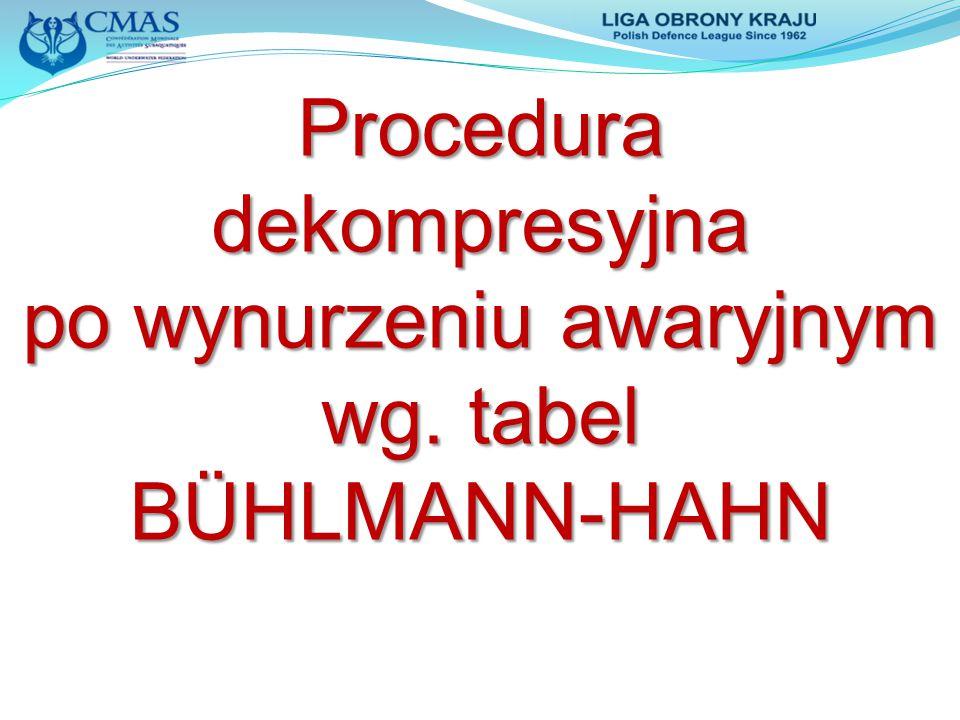 Proceduradekompresyjna po wynurzeniu awaryjnym wg. tabel BÜHLMANN-HAHN