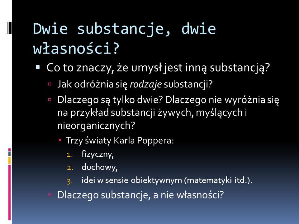 Dwie substancje, dwie własności. Co to znaczy, że umysł jest inną substancją.