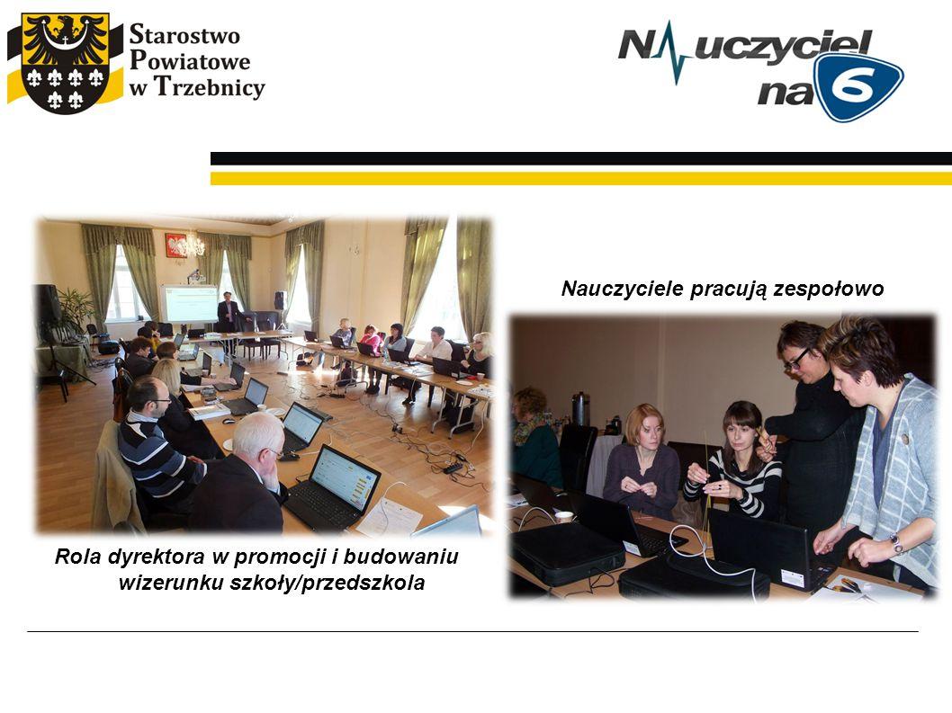 Rola dyrektora w promocji i budowaniu wizerunku szkoły/przedszkola Nauczyciele pracują zespołowo