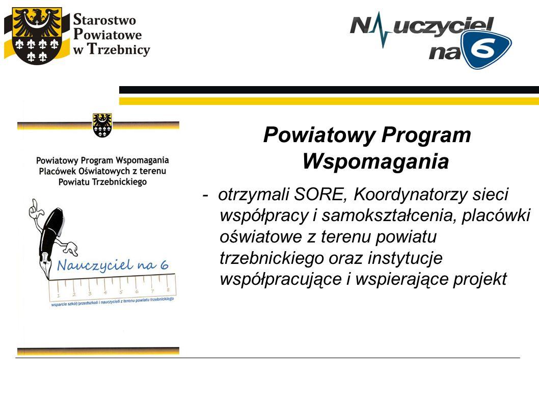 Powiatowy Program Wspomagania - otrzymali SORE, Koordynatorzy sieci współpracy i samokształcenia, placówki oświatowe z terenu powiatu trzebnickiego or