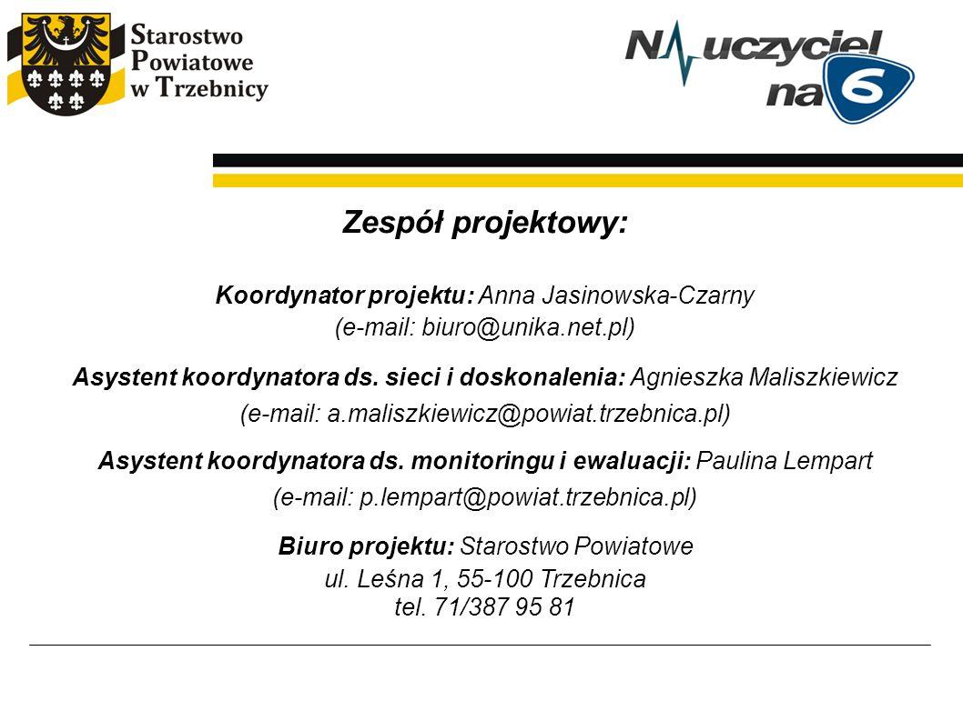 Zespół projektowy: Koordynator projektu: Anna Jasinowska-Czarny (e-mail: biuro@unika.net.pl) Asystent koordynatora ds. sieci i doskonalenia: Agnieszka