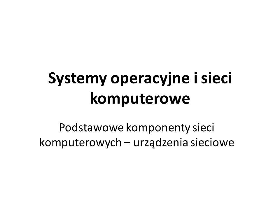 Systemy operacyjne i sieci komputerowe Podstawowe komponenty sieci komputerowych – urządzenia sieciowe