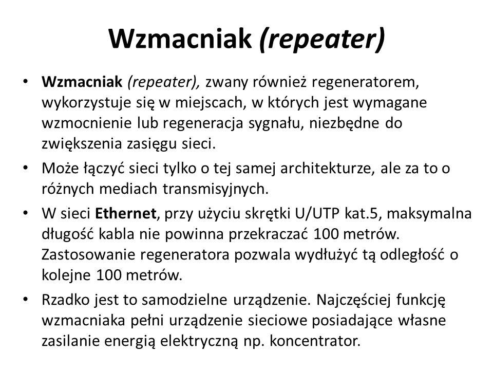 Wzmacniak (repeater) Wzmacniak (repeater), zwany również regeneratorem, wykorzystuje się w miejscach, w których jest wymagane wzmocnienie lub regenera