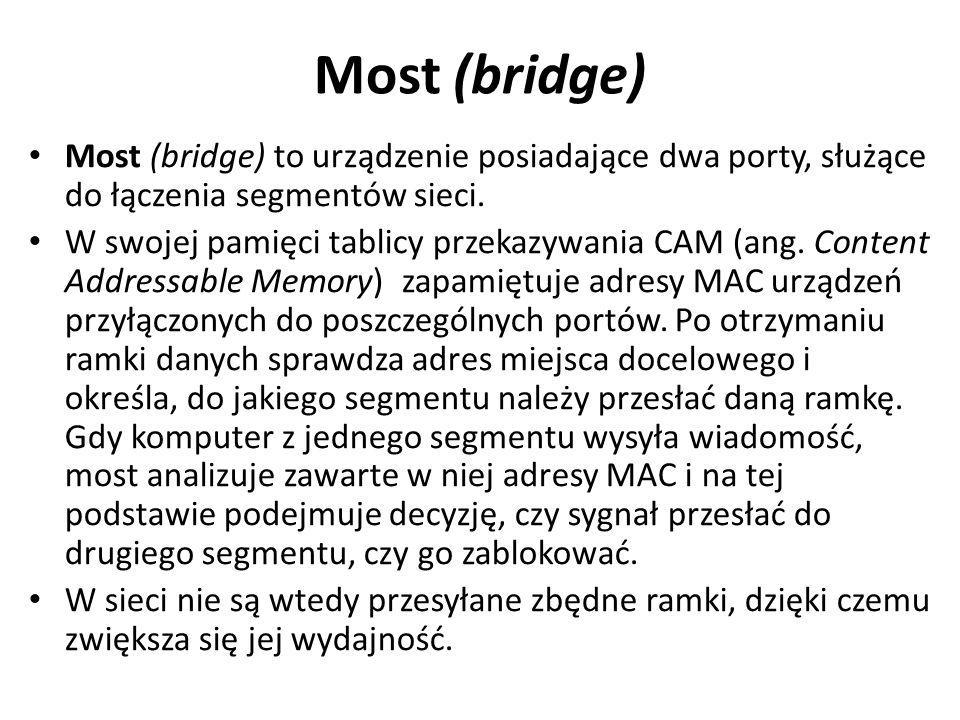 Most (bridge) Most (bridge) to urządzenie posiadające dwa porty, służące do łączenia segmentów sieci. W swojej pamięci tablicy przekazywania CAM (ang.
