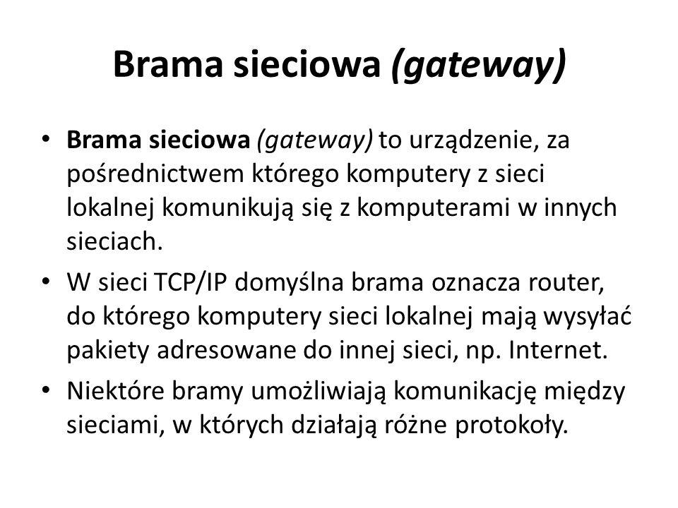 Brama sieciowa (gateway) Brama sieciowa (gateway) to urządzenie, za pośrednictwem którego komputery z sieci lokalnej komunikują się z komputerami w in