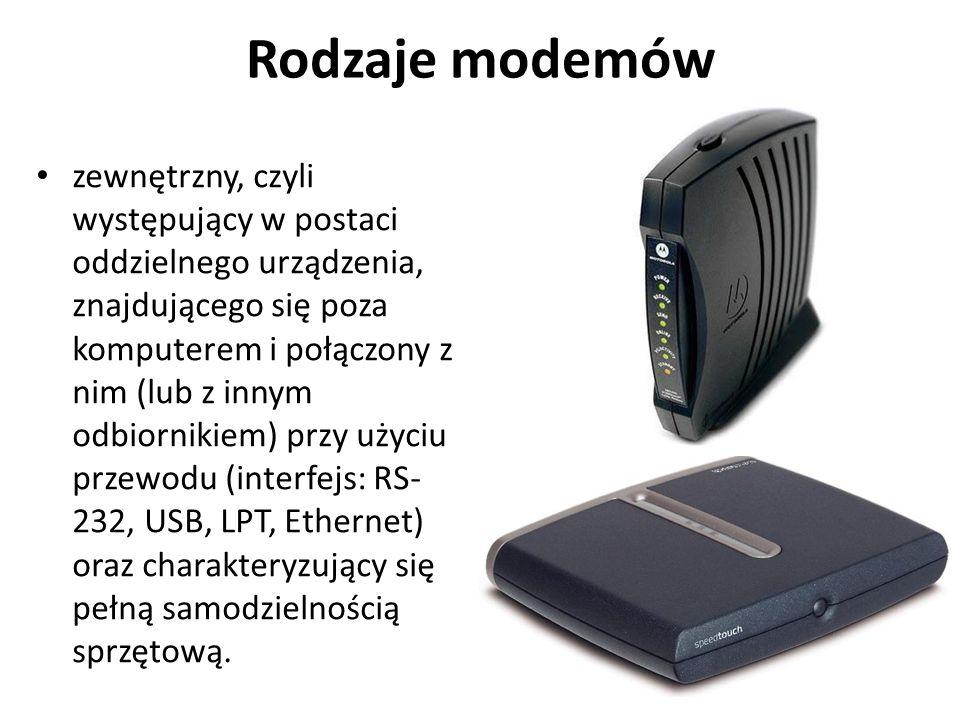 Rodzaje modemów zewnętrzny, czyli występujący w postaci oddzielnego urządzenia, znajdującego się poza komputerem i połączony z nim (lub z innym odbior