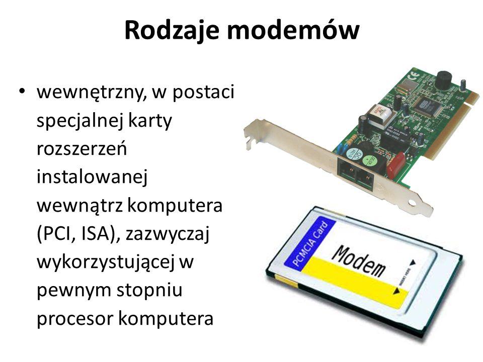 Rodzaje modemów wewnętrzny, w postaci specjalnej karty rozszerzeń instalowanej wewnątrz komputera (PCI, ISA), zazwyczaj wykorzystującej w pewnym stopn