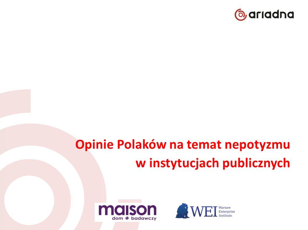 """Podsumowanie wyników 1/2 Badanie """"Opinie Polaków na temat nepotyzmu w instytucjach publicznych zostało przeprowadzone przez Warsaw Enterprise Institute i Dom Badawczy Maison na panelu badawczym Ariadna."""