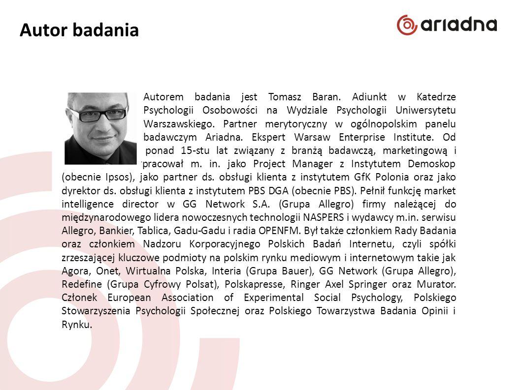 Autor badania Autorem badania jest Tomasz Baran. Adiunkt w Katedrze Psychologii Osobowości na Wydziale Psychologii Uniwersytetu Warszawskiego. Partner